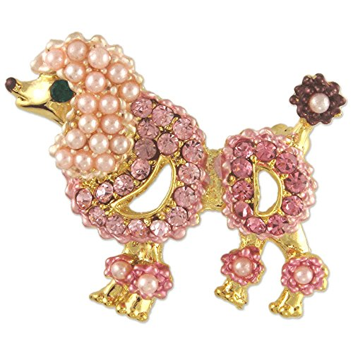 Poodle Dog Pin (Women's Crystal Pink Pearl Poodle Dog Brooch Pin Made with Swarovski Elements)