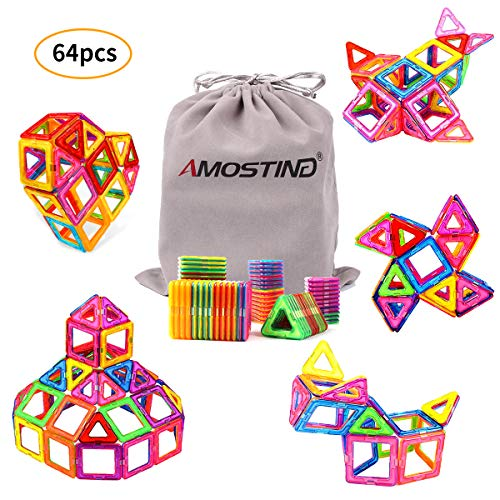 AMOSTING Magnetic Blocks for Kids, Magnetic Tiles Building Blocks Set STEM Educational Toys for Boys and Girls with Storage Bag - 64pcs - Magical Building Set