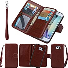 Galaxy S6 Edge Case, ACMBO 9 CARD 2 in 1 Magnetic Detachable Separable PU Leather Folio Flip Credit Card Slots Cash Purse Wallet Case Cover For Samsung Galaxy S6 Edge G925F G925I G925V, Brown