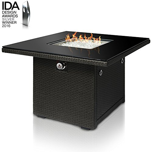 (Outland Living Series 410 Slate Grey 36-Inch Outdoor Propane Gas Fire Pit Table, Black Tempered Tabletop w/Arctic Ice Glass Rocks and Resin Wicker Panels, Slate)