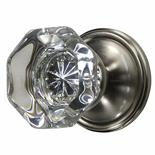 - Providence Octagon Crystal Door Knob Set with Victorian Plate Rosettes in Brushed Nickel (Double Sided Dummy)