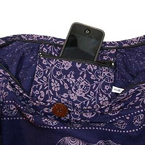 Thai Hippie Elephant Crossbody Bag Purse shoulder bag Thai Top Zip Color Dark Blue.