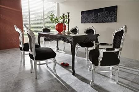Beautiful Casa Padrino Baroque Dining Room Set Black/Silver   Dining Table + 6 Chairs