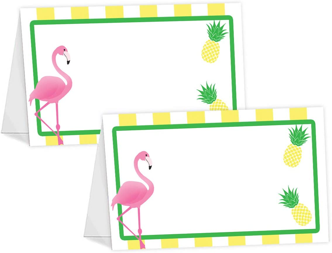 POP parties Flamingo Pineapple Table Tents - 12 Flamingo Pineapple Buffet Cards - Flamingo Place Cards - Flamingo Decorations - Flamingo Party Decorations - Flamingo Party Supplies