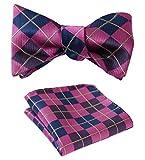 SetSense Men's Plaid Jacquard Woven Self Bow Tie Set One Size Navy Blue/Pink
