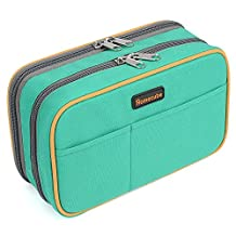 "Pencil Case, Homecube Large Capacity Pen Bag Makeup Pouch Durable Students Stationery Two Big Pockets With Double Zipper 8.7x6x3.2"" (Green)"