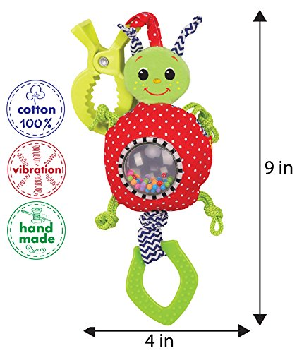 Vibration Infant Toys for Girls and Boys - Newborn Crib Toys - Car seat toys - Baby Stroller Toys - Travel Activity Toys with Teether and Clip - by Macik by MACIK