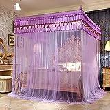 Three Open Doors Mosquito Net Bed Canopy Floor-Standing Rail Type Folding Retractable Net Tent Indoor Decorative,Purple,150200CM