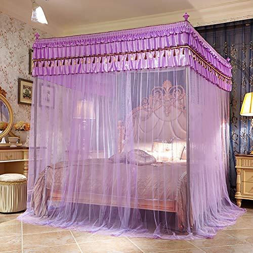 Three Open Doors Mosquito Net Bed Canopy Floor-Standing Rail Type Folding Retractable Net Tent Indoor Decorative,Purple,150200CM by LINLIN MOSQUITO NET (Image #7)