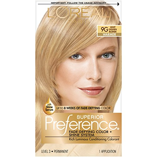 L'Oréal Paris Superior Preference Fade-Defying + Shine Permanent Hair Color, 9G Light Golden Blonde, 1 kit Hair Dye