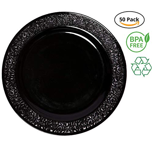 Party Joy 'I Can't Believe It's Plastic' 50-Piece Plastic Dinner Plate Set | Lace Collection | Heavy Duty Premium Plastic Plates for Wedding, Parties, Camping & More (Black) -