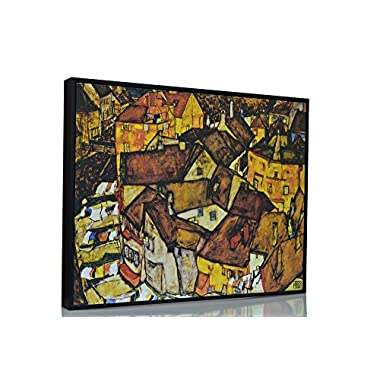 BerkinArts - Egon Schiele Giclee Canvas Print Paintings Poster Reproduction The small City V By Egon Schiele. FRAMED 17.5X21.8""