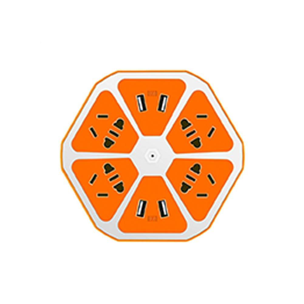 [ZHKZ_3066]  FidgetGear Hexagonal Multifunctional 4 USB Charging Port Household Safe  Colorful Lemon Plug Orange 1.8M Wire: Amazon.in: Home & Kitchen   Orange Usb Wire Diagram      Amazon.in