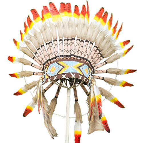 [Feather Headdress - ADJUSTABLE KIDS SIZE - Native American Inspired - Multicolor] (Indian Headress)