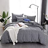 Bedding Sets Chickwin Duvet Cover Set Polyester Microfiber Printing Simple Pinstripes Pattern Single Double King Size Bedding Sets 3Pcs, 1*duvet cover 2* matching pillowcases For Kids and Family (Single 135x200cm, Gray vertical strip)