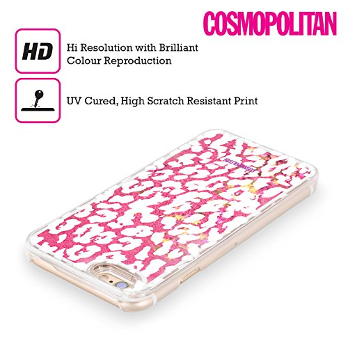 Official Cosmopolitan White Cheetah Animal Skin Patterns Hot Pink Liquid Glitter Case Cover for Apple iPhone 5 / 5s / SE