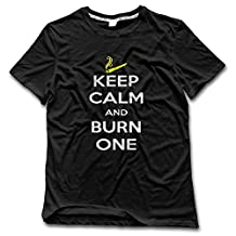 Men's Keep Calm And Burn One Smoking Cigarette Personalized T Shirts Fitted