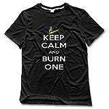 vapor buddy - Men's Keep Calm And Burn One Smoking Cigarette Fuuny Crew Neck Shirt