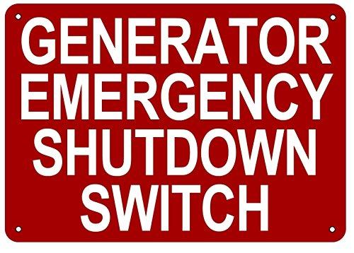 'Generator Emergency Shutdown Switch' Sign (Aluminium 7x10)
