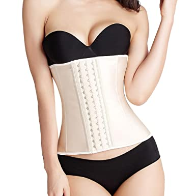 Image result for Willowy LE Women's Short Torso Waist Trainer Corset for Weight Loss Latex Shapewear Breathable 25 Steel Boned