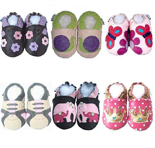 Jinwood Lederhausschuhe Krabbelschuhe Für Baby`s und Kleinkinder Hausschuhe 6 Verschiedene Modelle BLUME LILA BRAUN