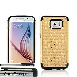 for Samsung Galaxy S6 Hybrid Diamonds Cover Case Stylus Pen ApexGears (TM) Gold Black