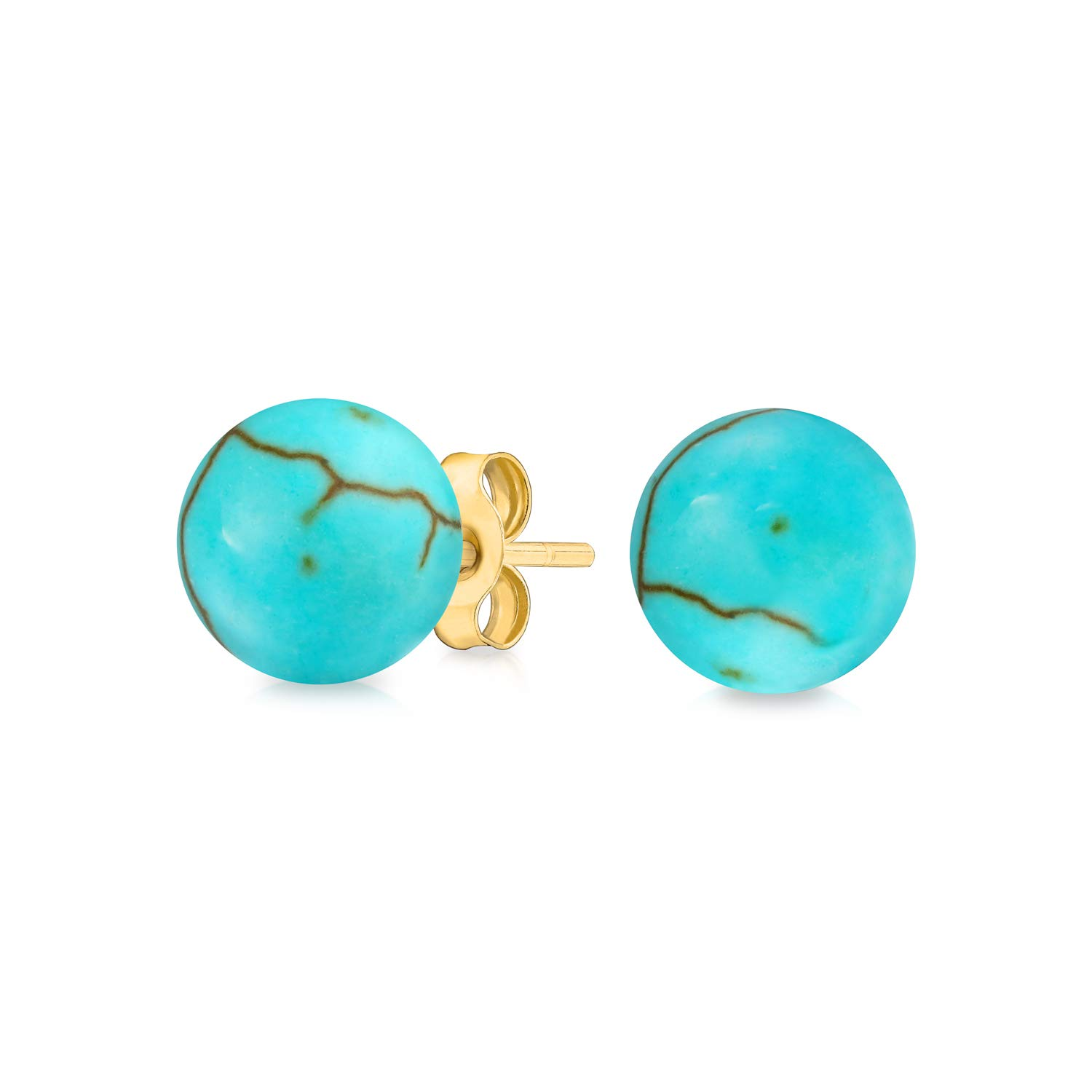 cde78d8df Amazon.com: Classic Simple Natural Turquoise December Birthstone Round Ball Stud  Post Earrings For Women Real 14K Yellow Gold 6mm: Jewelry