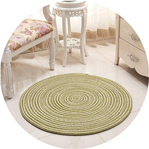 Newest Woven Round Computer Cushion Carpets for Living Room Bedroom Rug Study Room Tatami Carpet Household Mat Home Decoration,Green,40cm -