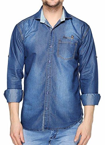 Lafantar Men #39;s Solid Slim Fit Casual Shirt  dms40r_Blue_Small