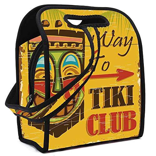 Tiki Bar Decor Stylish Neoprene Lunch Bag,Way to Tiki Club Vintage Poster Design Grunge Polynesian Exotic Retro Print Decorative for Women Girls Kids,Square(8.5''L x 5.5''W x 11''H)