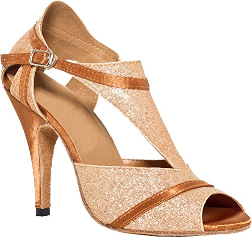 Salabobo L022 Womens Professional Latin Tango Cha-cha Wedding Party T-bar Heeled Satin Dance Shoes Gold J1bHLB0
