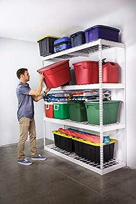 SafeRacks 2'D x 6'W x 7'H Garage Shelving Unit - White - Steel Garage Storage Rack 500 Pounds Per Shelf