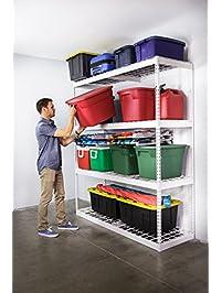 saferacks garage storage rack white steel shelving unit 2u0027d x 6