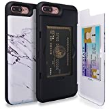 TORU CX PRO iPhone 8 Plus Wallet Case Pattern with Hidden ID Slot Credit Card Holder Hard Cover & Mirror for iPhone 8 Plus / iPhone 7 Plus - Marble Stone