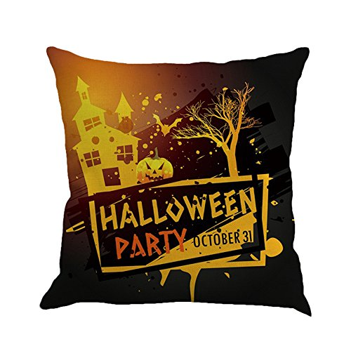 Seaintheson Throw Pillow Covers, Happy Halloween Pillow Cases Linen Sofa Cushion Cover Sofa Indoor Outdoor Home Decor -