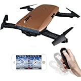 JJRC H47 Elfie Foldable WIFI FPV Drone with Camera, Mini Quadcopter Selfie Beauty Camera with Waterprooft Backpack Bag (Gold)