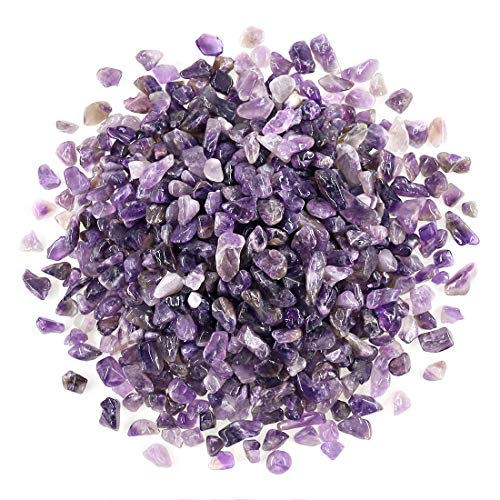 (Swpeet 1 Pound Amethyst Small Tumbled Chips Stone Gemstone Chips Crushed Pieces Irregular Shaped Stones Crystal Chips Stone Perfect for Jewelry Making Home Decoration)
