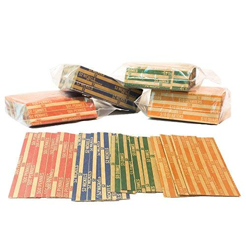 J Mark Neatly-Packed Flat Coin Roll Wrappers Extra Pennies (Quarters, Dimes, Nickels, Pennies), ABA Striped Kraft Paper Coin Roll Wrappers, Includes Free J Mark Deposit Slip, (1,000-Pack USD) (Dimes Coin Wrapper 1000 Wrap)