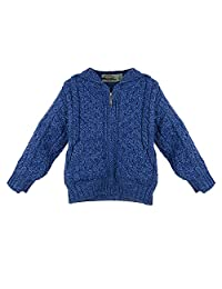 100% Irish Merino Wool Little Boys Hooded Zip Sweater with Pockets by West End