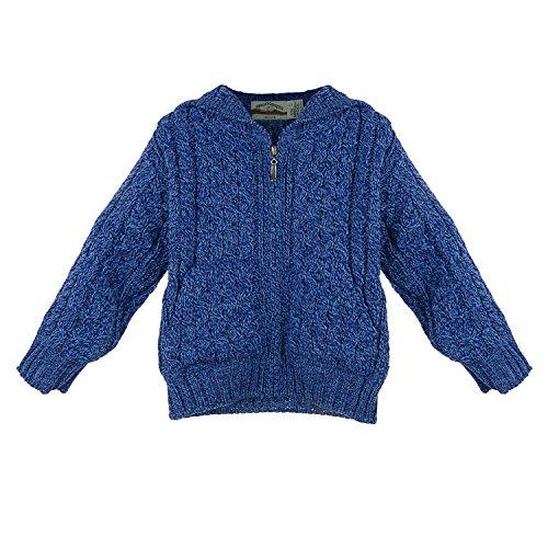 Irish Merino Wool Hooded Aran Children's Zip Sweater