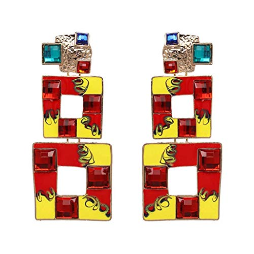 BBG Ladies Out Wearing Accessories Women's Earrings Multi-Color Pendant Earrings with Bright Effect Square Earrings 3.5 x ()
