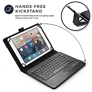 Cooper Infinite Executive Keyboard Case for 9, 10, 10.1 inch Tablets   2-in-1 Bluetooth Wireless Keyboard and Leather Folio Cover (Black)