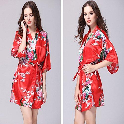 Camicia Accappatoio Kimono notte Ahatech in Dressing Gown Donna rossi da raso motivo da notte con Camicia fiori A8q0gx8