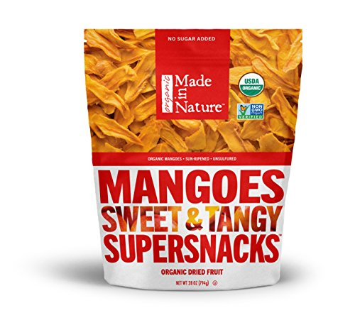 Made in Nature, Organic Super Snacks, Dried Mango, 28 oz., Unsulfured and Unsweetened Healthy Organic Snack Perfect for the Trail, Travel, & Home, Free From GMOs, Artificial Flavors, & Preservatives