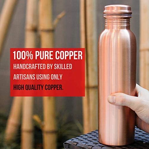 Kosdeg cobre Botella de Agua 1 litros//34 Oz Extra Grande-un ayurvédico Puro