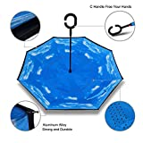 Reverse Folding Double Layer Umbrella, Awkli Windproof UV Protection Hand Free Inverted Bumbershoot for Car Outdoor (Blue Sky)