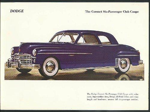 """1949 Dodge Coronet Six-Passenger Club Coupe color print 9 x 12 1/2"""""""