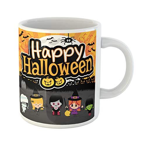Semtomn Funny Coffee Mug Happy Halloween Text on Orange and Black Spooky Children 11 Oz Ceramic Coffee Mugs Tea Cup Best Gift Or -