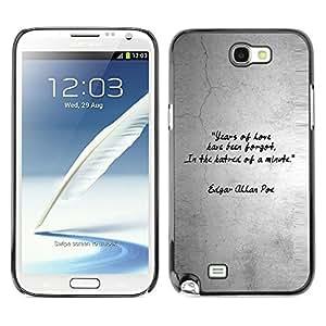 TopCaseStore / la caja del caucho duro de la cubierta de protección de la piel - Quote Love Heart Gray Grey Black White - Samsung Galaxy Note 2 N7100