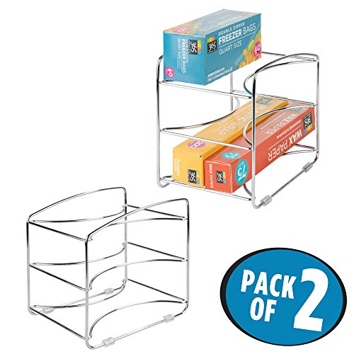 - mDesign Kitchen Organizer Rack for Aluminum Foil, Sandwich Bags, Plastic Wrap - Pack of 2, 3 Shelves, Chrome
